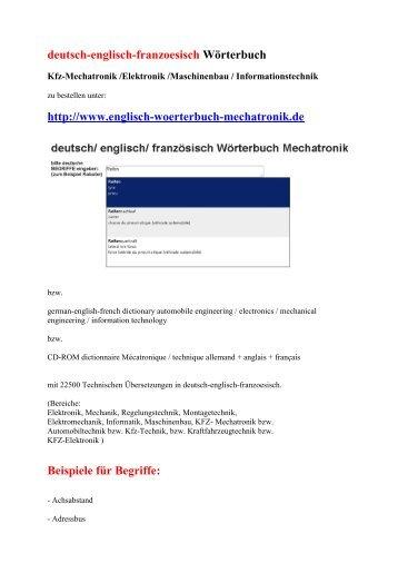 deutsch-englisch-franzoesisch Woerterbuch: Kfz-Mechatronik Elektronik Maschinenbau EDV