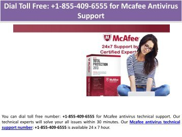 Dial Toll Free: +1-855-409-6555 for Mcafee Antivirus Support