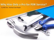 Why Hire Only a Pro for PDR Service?
