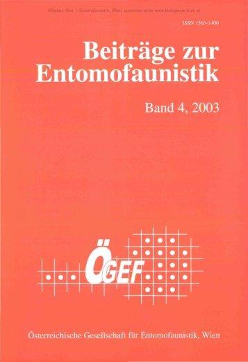 Beiträge zur Entomofaunistik