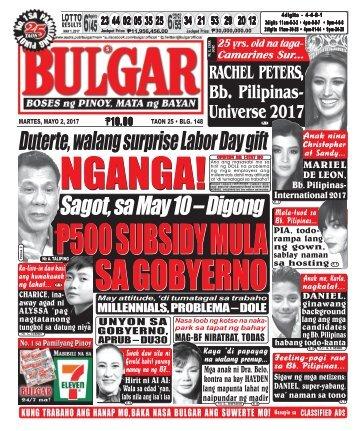 May 2, 2017 BULGAR: BOSES NG PINOY, MATA NG BAYAN