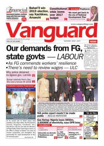 01052017 - Our  demands from FG, State Govts - LABOUR