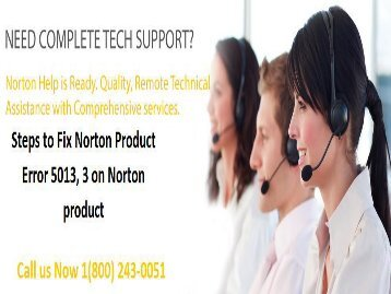 1 (800) 243-0051 How to Troubleshoot Norton Product Error 5013, 33?
