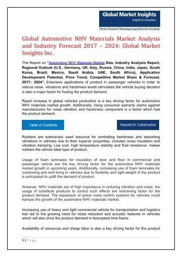 Automotive NHV Materials Market Industry Trends, Statistics, Analysis by 2024