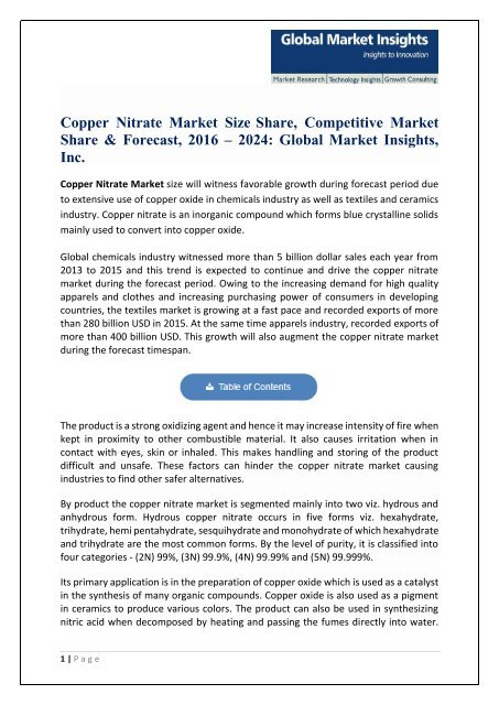 Copper Nitrate Market Price Trend, Competitive Market Share