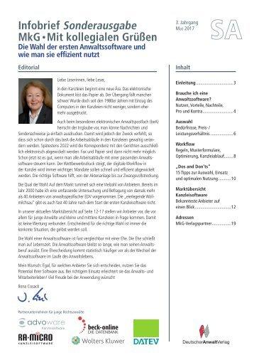 MkG-Sonderausgabe: Die Wahl der ersten Anwaltssoftware