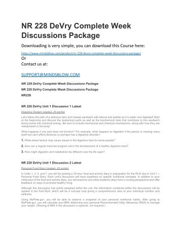 NR 228 DeVry Complete Week Discussions Package