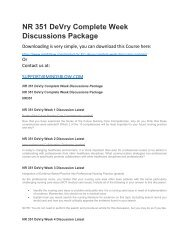 NR 351 DeVry Complete Week Discussions Package