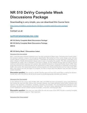 NR 510 DeVry Complete Week Discussions Package