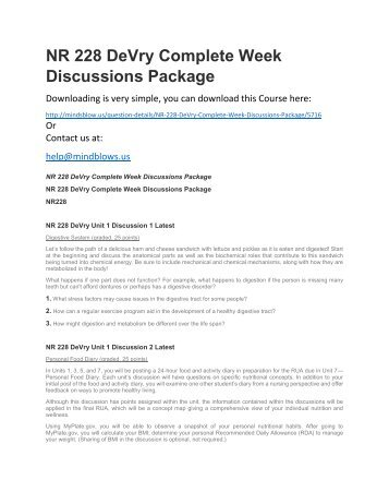 NR 228 DeVry Complete Week Discussions Package