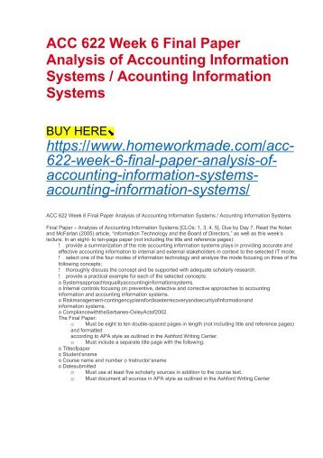 ACC 622 Week 6 Final Paper Analysis of Accounting Information Systems : Acounting Information Systems