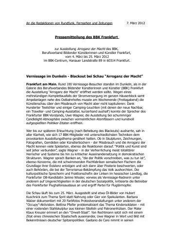 Arroganz der Macht - BBK Frankfurt