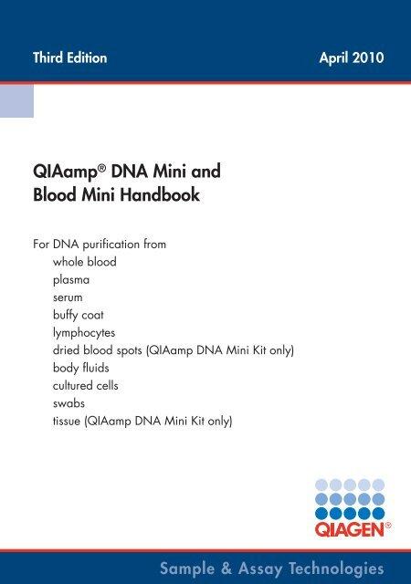 Qiaamp Dna Mini And Blood Mini Handbook Qiagen