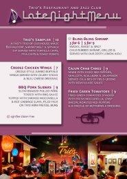 Late Night Menu - Trio's Restaurant & Jazz Club