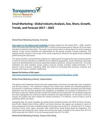 Email Marketing - Global Industry Analysis, Size, Share, Growth, Trends, and Forecast 2017 - 2025