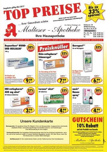 Angebote im Mai der MalteserApotheke in Nürnberg