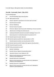 Slavistik : Systematik (Stand : März 2012) - Universität Tübingen