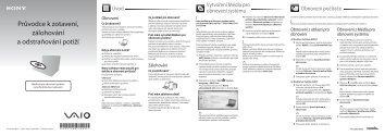 Sony VPCEJ1C5E - VPCEJ1C5E Guide de dépannage Tchèque