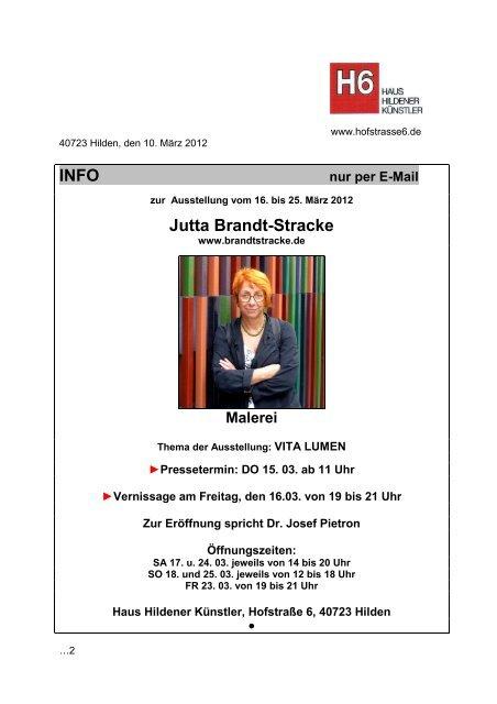 INFO Jutta Brandt-Stracke - Haus Hildener Künstler