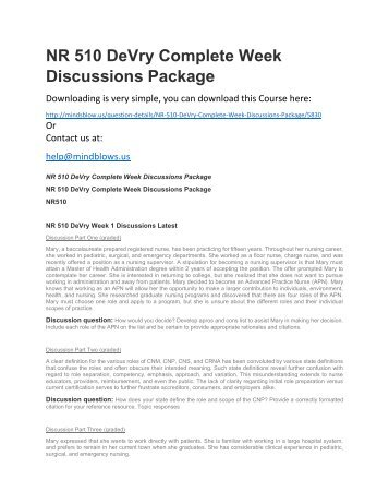 NR 510 DeVry Complete Week Discussions Package