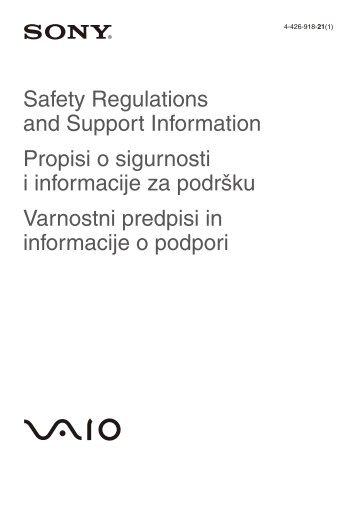 Sony SVE14A1X1R - SVE14A1X1R Documents de garantie Slovénien
