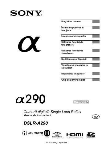 Sony DSLR-A290L - DSLR-A290L Mode d'emploi Roumain