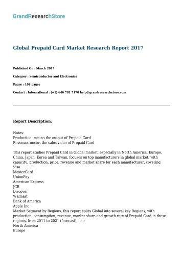 GLOBAL Prepaid Card MARKET REPORT 2017