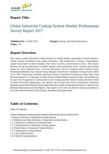 Global Industrial Cooling System Market Professional Survey Report 2017