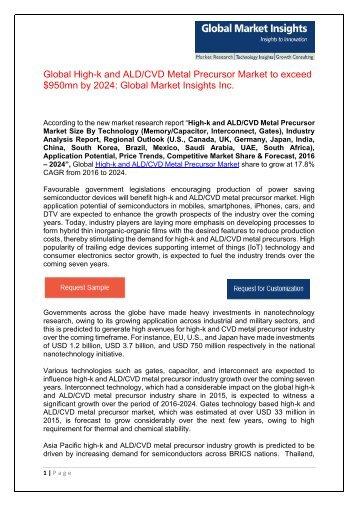 PDF - High-k and ALD CVD Metal Precursor Market Wordpress