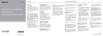 Sony SVE1512H4E - SVE1512H4E Guide de dépannage Tchèque