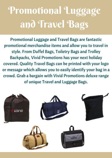 Promotional Luggage and Travel Bags