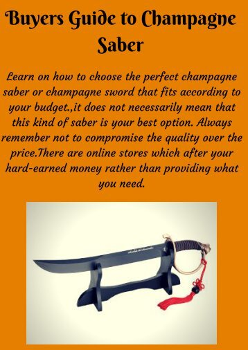Choose Trusted Knife Manufacture|Champagne Saber