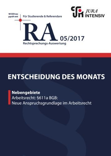 RA 05/2017 - Entscheidung des Monats