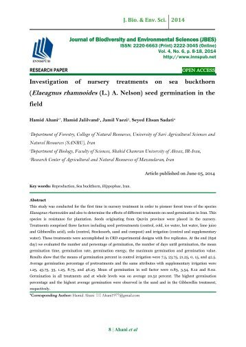 Investigation of nursery treatments on sea buckthorn (Elaeagnus rhamnoides (L.) A. Nelson) seed germination in the field