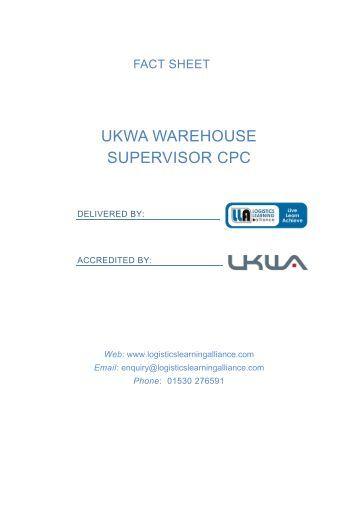 UKWA Warehouse Supervisor CPC