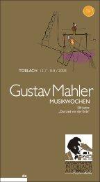 Wir stiften Kultur Promuoviamo cultura - Gustav Mahler