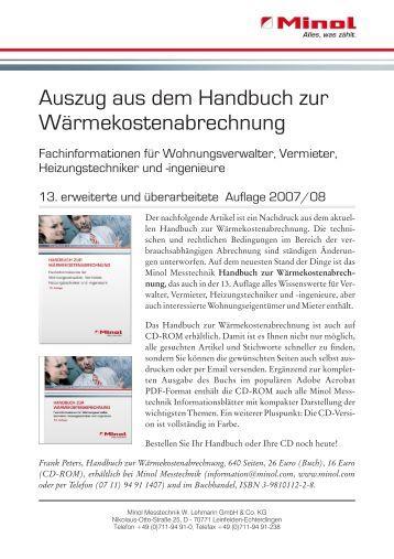 Auszug aus dem Handbuch zur Wärmekostenabrechnung - 13 ...