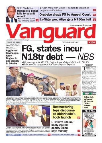 04052017 - FG, states incur N18tr debt — NBS