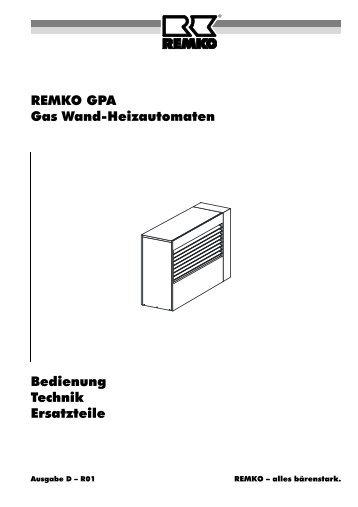 REMKO GPA Gas Wand-Heizautomaten Bedienung Technik ...