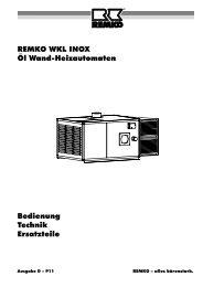 Bedienung Technik Ersatzteile REMKO WKL INOX Öl Wand ...