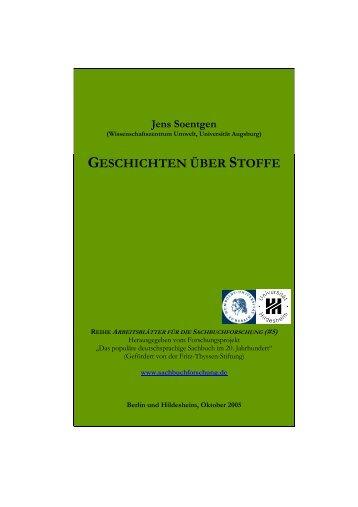 soentgen - stoffgeschichten _korr._ - Sachbuchforschung