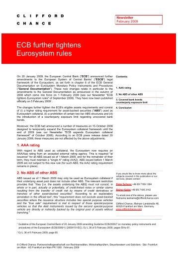 ECB further tightens Eurosystem rules - True Sale International GmbH