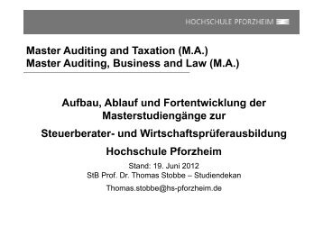 Master Auditing and Taxation (MA) - Hochschule Pforzheim