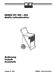 REMKO ETF 300 – 550 Mobile Luftentfeuchter Bedienung Technik ...