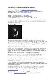 Bio MINT Jazz 2012 Groups Marike van Dijk, Pablo Held and ...