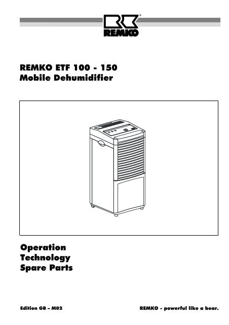 REMKO ETF 100 - 150 Mobile Dehumidifier Operation Technology ...