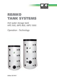 Hot water storage tank HPS 500, MPS 800, MPS 1000 ... - Remko
