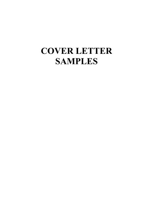 COVER LETTER SAMPLES - Wharton MBA Career Management ...