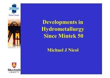 Developments in Hydrometallurgy Since Mintek 50