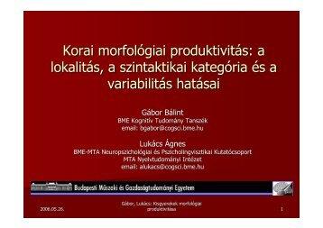 Korai morfológiai produktivitás: a lokalitás, a szintaktikai kategória ...